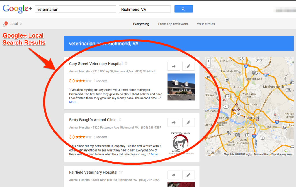 Google+ Local Pages for Veterinarians